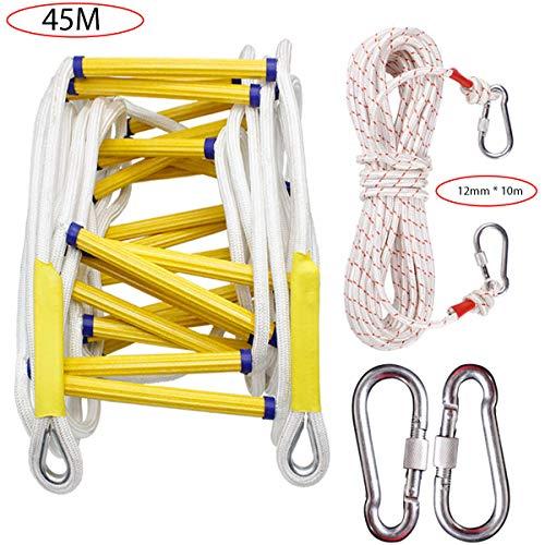 BBMMCLL Rettungsleiter, Notfalltreppe für Außendienstmitarbeiter in Leiter, weich, mit Karabinerhaken, A., 45