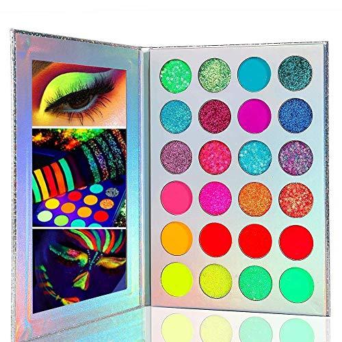 Kalolary Neon Luminous Eyeshadow Palette, 24-farbige hochpigmentierte Lidschatten-Make-up-Palette,...