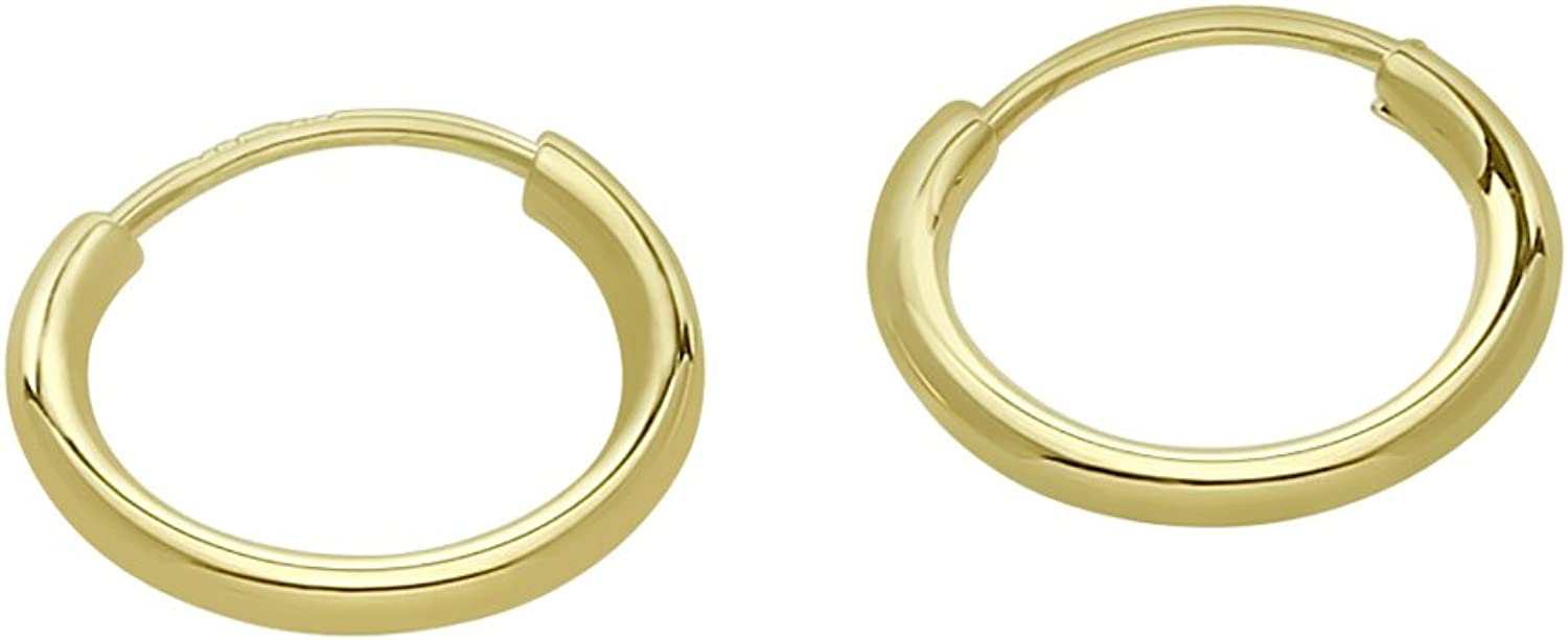 14k Gold Small Endless Hoop Earrings for Ears, Cartilage, Nose or Lips, 10mm