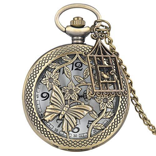URNOFHW Reloj de Bolsillo de Bronce de la Mariposa y la Flor de Estilo Retro Collar de Cadena de Reloj de Cuarzo Reloj con Accesorios 2020