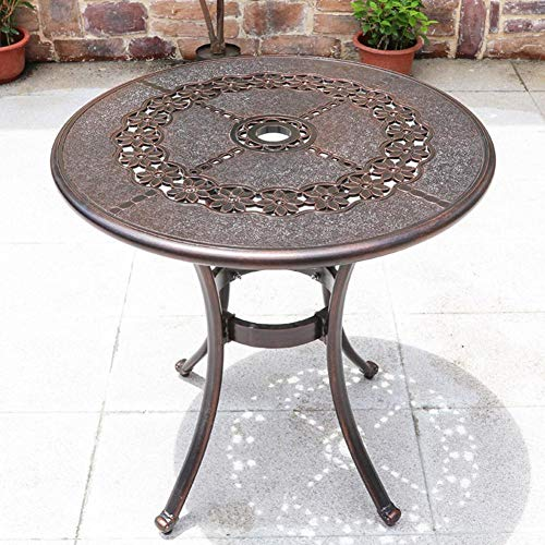 N / A 1pcs Lotus Round Table Needs Assembly, Cast Aluminium Round Table and Chairs Outdoor Garden Patio Furniture Bistro Set(One Table,No Chairs)