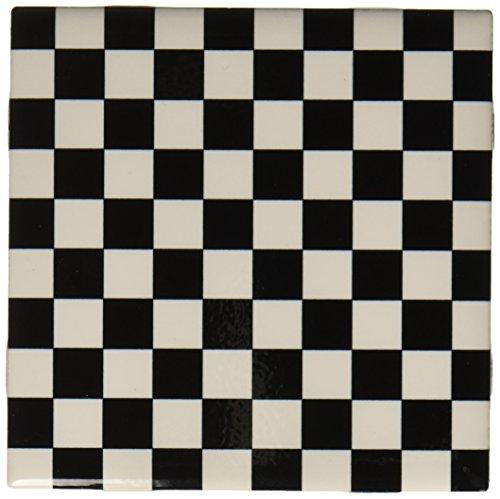 3dRose CT_78204_1 Schachbrettmuster Keramik Fliesen 10,2 cm schwarz/weiß