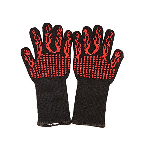 Extreme Heat Resistant BBQ Oven Safety Gloves - Silicone Cooking Gloves - Pizza Oven Mitts - BBQ - Gloves ?One Set? (Fire - Red)