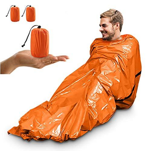 Notfallzelt, Tragbar Notfall Schlafsack Notfallzelt Wasserdicht Survival Schlafsack Hitzeabweisend Erste Hilfe Rettungsdecken Ultraleicht Biwak Sack für Outdoor Camping und Wandern (Orange- 2 Packung)