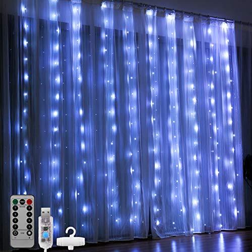 Luces LED Cadena de Cortina, DazSpirit luces decorativas de ventana de 3M*3M, Blanco, USB 8 Modos y Resistencia al agua, Para Exteriores, Interiores, Navidad, Dormitorios, Jardines y Techos