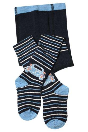 Weri Spezials Weri Spezials Baby-Junge Kinderstrumpfhose in Marine Gr. 86/92 (18-24 Monate) Auto+Ringel Motiv