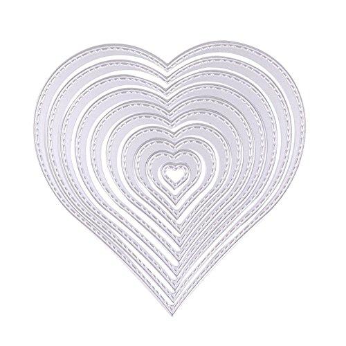 10 unidades Troqueles de Metal Corazón Cutting Dies U-horizon Dies Corte Plantillas Estarcir para Tarjeta, Papel, Álbum Scrapbook, DIY (LOVE Heart)