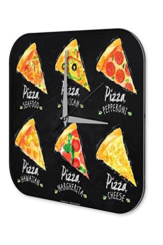 Orologio da parete Arredamento Cucina Variazioni di pizza Plexiglas