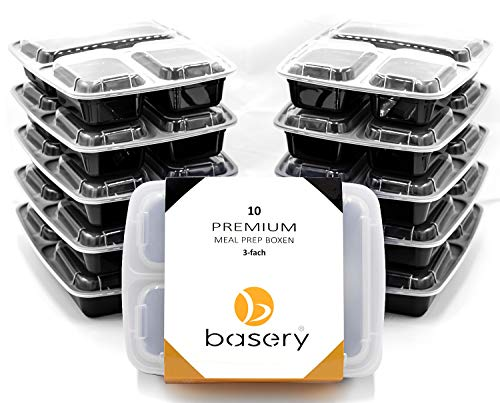 basery 3Fach Meal PREP Container, 10 Stück - Mikrowellengeschirr Essensbox für Dein Foodprep - Fitness Food Container Boxen - Lunchbox Set und Food Prep Behälter - 1l Bentobox