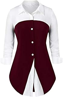 Bloomn Fashion Women Long Sleeve T-Shirt Splice Color Lapel Tops Blouse