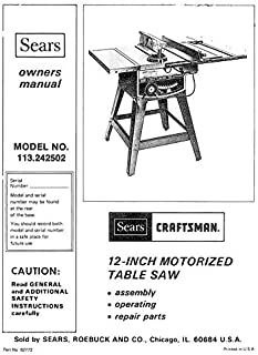 Craftsman 113.242502 Table Saw Owners Instruction Manual Reprint [Plastic Comb]