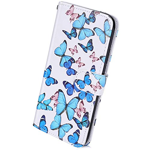 Herbests Kompatibel mit Samsung Galaxy A31 Handyhülle Leder Hülle Bunt Motiv Muster Leder Flip Schutzhülle Tasche Wallet Case Kartenfach Standfunktion Magnetverschluss,Schmetterlinge