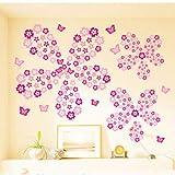 QTTZWZQ Fleurs Et Papillon Stickers Muraux Salon Chambre Art Stickers Décoration de La Maison Meubles Autocollants Bébé Pépinière