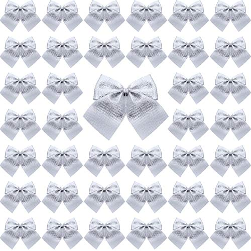 72 Pack Mini Christmas Tree Bows 6 cm Ribbon Bows Ornaments for Christmas Tree Hanging Decoration (Silver)