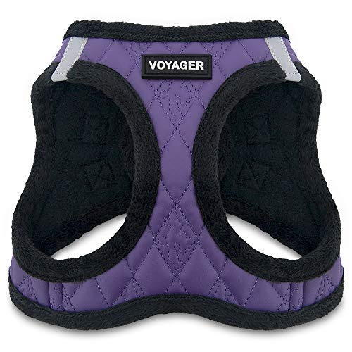 "Voyager Step-In Plush Dog Harness - Soft Plush, Step In Vest Harness for Small and Medium Dogs by Best Pet Supplies - Purple Faux Leather, Medium (Chest: 16"" - 18"")"