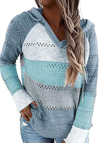 Lovezesent Women's Plus Size Fall Knitted Hoodies Color Block Hooded Pullover Sweatshirts Casual Lightweight Sweater Sky Blue 2XL