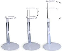 Doll Stands - Set of 3 White Metal and Vinyl Adjustable Doll Holders - Each One Expands from Approx. 5 3/4