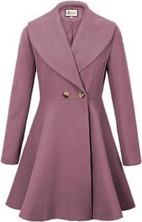 e30c7224b20 K Women s Wool Trench Coat Lapel Wrap Swing Winter Long Overcoat Jacket