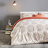 SLEEP ZONE Bedding Duvet Cover Sets Printed Damask Pattern 120gsm 1 Pillowcase Ultra Soft Zipper Closure Corner Ties, Beige, Twin
