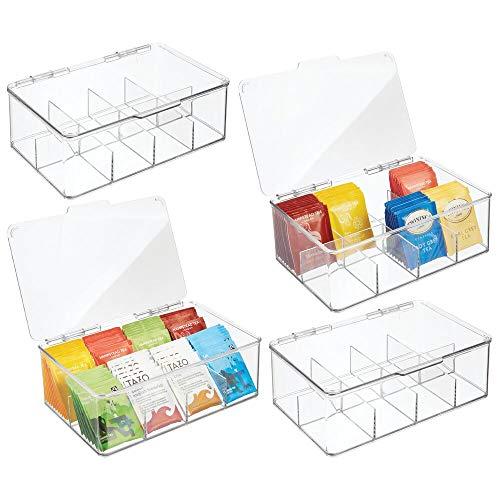 mDesign 4er-Set Küchen Organizer –praktische Teekiste mit Deckel fürKücheund Speisekammer– Aufbewahrungsbox mit8 Fächern für Tee, Kaffee oder Gewürze –durchsichtig