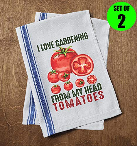 Classic Kitchen Towels I Love Gardening from My Head Tomatoes Funny Food Pun Funny Dish Towels with Sayings Set of 2 Multipurpose Blue Stripe Towels