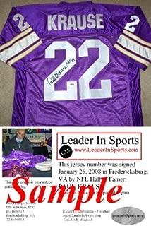 Paul Krause Autographed Jersey - Minnesota Vikings