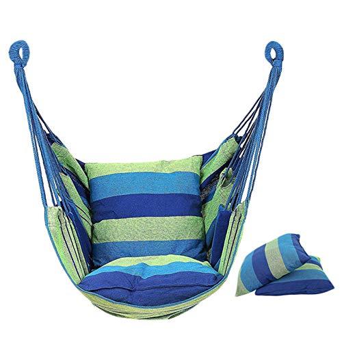 Silla colgante Huante con 2 almohadas para interiores, exteriores, jardín (azul)