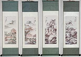 NWFashion Four Season Mountain/Flower/People Home Decoration Poster Hanging Painting 4PCS/Lot