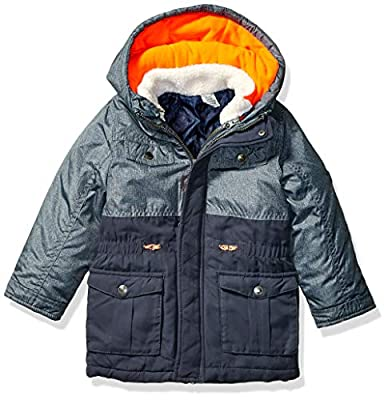 Carter's Boys' Little 4-in-1 Adventure Systems Jacket, Navy/Orange/White Sherpa, 4