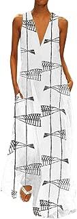 Women's Bohemian Retro Fashion Daily Leisure Sleeveless Print Summer Dresses Ankle-Length