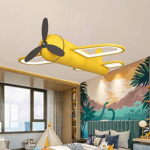 ZBYL LED 42W Candelabro Niño Dormitorio Colgante De Luz Creatividad Aeronave Diseño Lámpara Pantalla de acrílico Altura Ajustable Metal Lámpara para Sala de Estar Comedor L46*W45*H10CM,Amarillo
