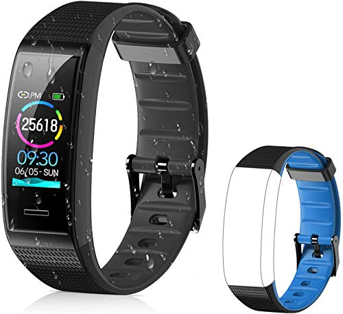 Tovendor Fitness Tracker with Extra Blue Replacement Band, IP68 Waterproof Sports Activities Tracker...