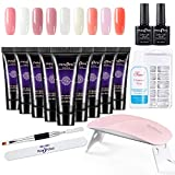Anself Kit de Uñas de Gel 15ml x 9 Colores UV + Lámpara de Manicura + 100pcs Uñas con Pincel de...