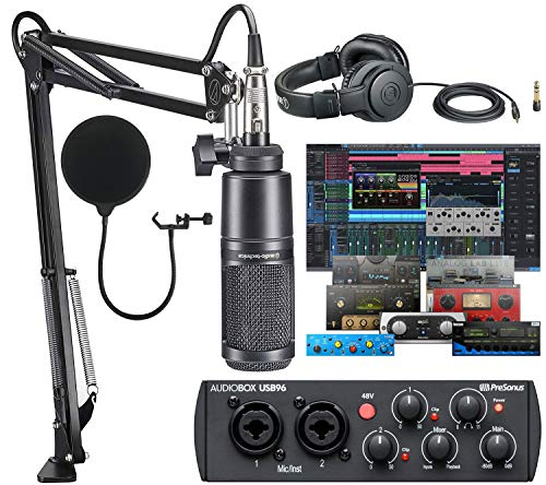 Presonus AudioBox 96 Audio USB 2.0 Recording Interface with Studio One 5 Artist DAW Software with Audio-Technica AT2020 Vocal Microphone Arm Kit for Studio Recording/Streaming/Podcasting