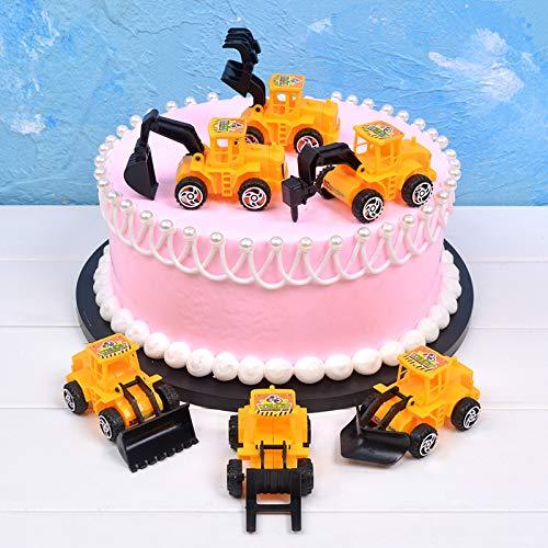 Micacorn Baufahrzeuge Set Cake Decoration, 6 Stück Baufahrzeug Kuchen Ornamenter Bagger Lastwagen Spielzeugautos für Kuchen, Cupcake für Jungen Mädchen Deko Geburtstagskuchen Party Dekoration (Car)