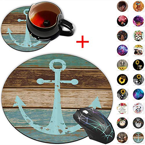 Round Mouse Pad, Anchor Timeworn Marine on Weathered Wooden Planks Rustic Nautical Theme Designs Non-Slip Rubber Base Gaming Mouse Pads and Coaster Set for Working Or Game, Desk Accessories