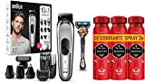 Braun - Recortadora 10 en 1, Máquina recortadora de barba, set de depilación corporal y cortapelos para hombre + Old Spice Booster Antitranspirante En Spray Para Hombres 3 x 150ml