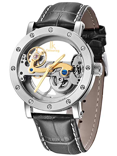 Alienwork IK Herren Damen mechanische Automatik-Uhr Silber mit Lederarmband schwarz Skelett