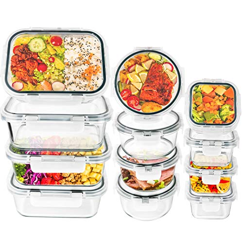 Glass Food Storage Containers with Lids - 24 Piece Airtight Glass Meal Prep Containers, Stackable & Leak-proof BPA-Free, Dishwasher/Microwave/Freezer Safe