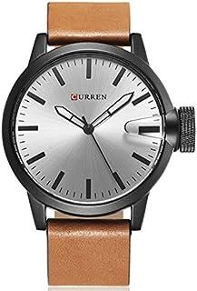 Curren 8208 Leather Strap Analog Dial Men Wristwatch Alloy Case Quartz Watch - Grey