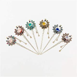 LUKEEXIN Bridal Hair Jewelry Crystal Tassel Hairpin for Women Hair Accessories (Color : 6 pcs)