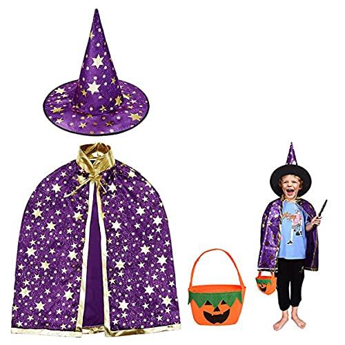 Halloween disfraz niño mago capa, Disfraz bruja bebe unisex(2 -13años)con Sombrero de mago con Bolsa caramelos, Infantil de Cosplay Fiesta espectáculo de escenario disfraces de halloween (Púrpura)