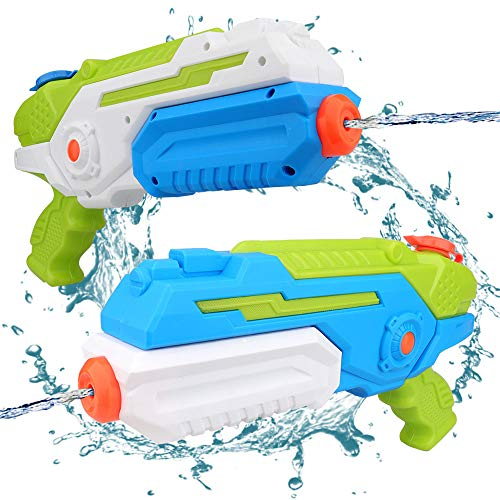 Sporgo Wasserpistole, 2er Set Wasserpistolen Spielzeug für Kinder Spritzpistole Wasserblaster Water Gun mit 8-10M Reichweite Wasserspritzpistolen Strand Garten Pool Spielzeug Strandspielzeug 400ML