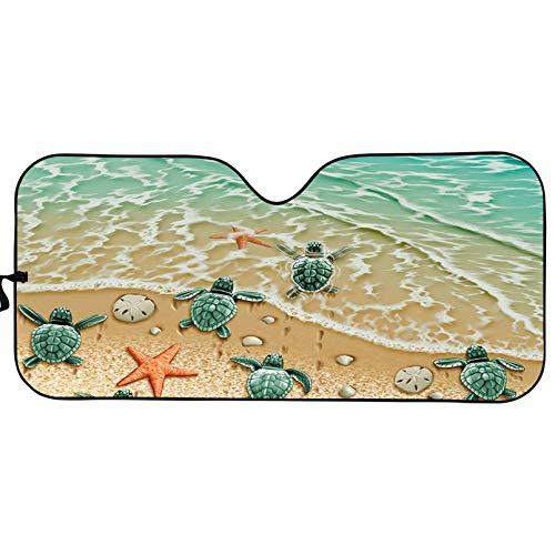 Renewold Parasol para parabrisas delantero plegable para coche, ajuste universal, visera de sol UV y reflector de calor, protección solar de acordeón, fácil de instalar, playa, tortugas