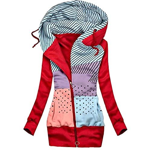 AllinKlei Sudadera con capucha para mujer, de otoño, de manga larga, tallas grandes, vintage, para adolescentes y niñas, rojo, XXL