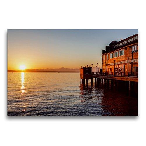 CALVENDO Premium Textil-Leinwand 75 x 50 cm Quer-Format Pier des Seattle Aquariums, Leinwanddruck von TomKli