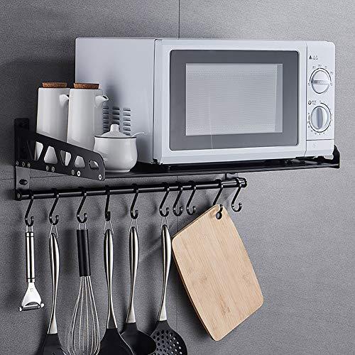 Schwarz Mikrowelle Regal, Mikrowellenhalter Aus Aluminiumlegierung, Wandmontage Gewürzregal Mit 10 Haken Für Kleine Küchen Und Bäder