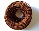 Vintage Braided Cable 5 Meters, 2 core Brown Antique Twisted Woven Silk Lighting Cable Flexible Fabric Wire, DIY Electrical Cord