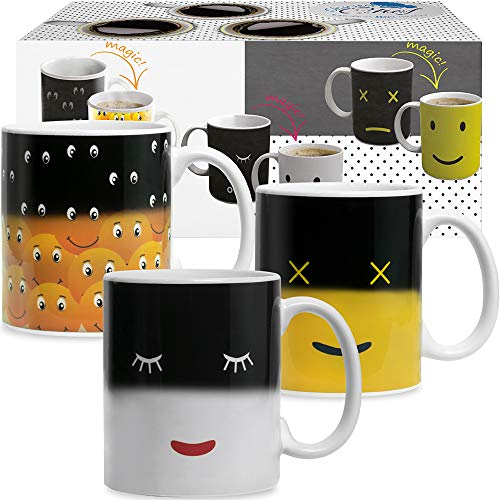 Heat Sensitive Coffee Magic Mugs - Set of Color Cute Coffee Tea Unique Changing Heat Cup 12 oz White...