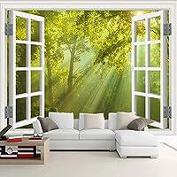 カスタム壁壁画3Dウィンドウ緑の大きな木の森の風景写真壁紙寝室のリビングルームの背景家の装飾の絵画, 400cm×280cm